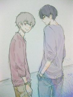 Zankyou no Terror, fan art: Nine and Twelve (M: I pretty like her drawing, she draws it on paper I suppose, so it's more dificult (for me), it's awesome)