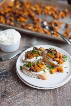 Butternut Squash Crostini with Whipped Goat Cheese | BourbonandHoney.com -- This seasonal and super savory Butternut Squash Crostini with Whipped Goat Cheese is the perfect holiday appetizer or party snack.