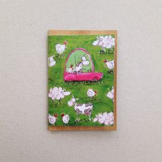 kids farm card  cow driving car  childrens by katiejardineART