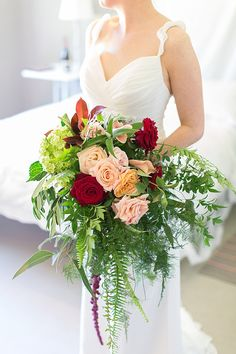 cascading bouquet - photo by Wesley Vorster Photography http://ruffledblog.com/eclectic-botanical-wedding-in-south-africa