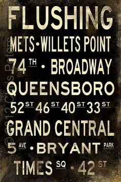 "Flushing New York Distressed Subway Sign Art Bus Scroll Photograph 20"" x 30"""