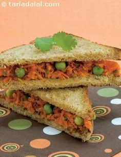 Carrot and green peas is a combination that you will immediately think of when preparing a curry, but in a sandwich? bound up with a little cheese spread and grated paneer, these two vegetables make the sandwich tasty and colourful. It is surprising how a small dose of green chillies adds zing to the carrot and green peas sandwich.