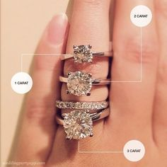 Carat size comparison on a real hand - great illustration for guys thinking about buying an engagement ring