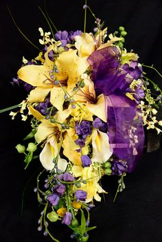 Brides Cascade Wedding Bouquet Set Yellow Lilies Ivory Calla Lily with Purple Accents 11 Piece Small Bridal Bouquets, Cascading Wedding Bouquets, Bride Bouquets, Wedding Flowers, Bridesmaid Bouquets, Yellow Wedding, Wedding Colors, Wedding Ideas, Wedding Themes