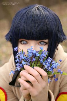 Cute Hinata Hyuuga cosplay from Naruto! She is literally the cutest stalker ever.