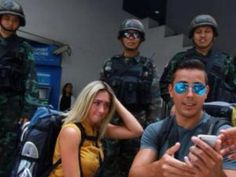 Bangkok and the rest of Thailand remains safe for tourists even though it's under martial law. Look at these tourists taking selfies with soldiers! Bangkok Travel, Bangkok Thailand, Asia Travel, Travel Tips, Martial, Insight, Law, Soldiers, Rest