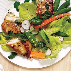 Spring Garden Salad with Chicken and Champagne Vinaigrette | MyRecipes.com #myplate #protein #vegetables