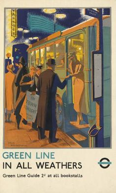 PERCY DRAKE BROOKSHAW (1907-1993) GREEN LINE in all weathers 1936 London Transport poster