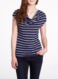 #Reitmans Petite Cowl Neck Striped T-Shirt