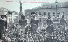Zaragoza. Gigantes y Cabezudos en las Fiestas del Pilar. A Principios del siglo XX