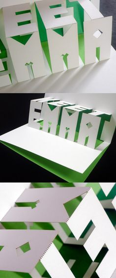 The card is printed on heavy white stock in two pantone colours and thepop-up letters plus fold lines were die-cut by a special laser using tiny perforation dots and then hand folded