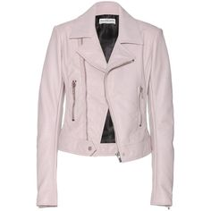 Balenciaga Leather Biker Jacket ($1,900) ❤ liked on Polyvore featuring outerwear, jackets, leather jackets, balenciaga, coats, leather moto jacket, motorcycle jacket, pink motorcycle jacket, leather motorcycle jacket and leather biker jacket