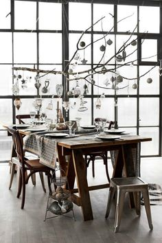 37 Amazing Christmas Dining Room Décor Ideas : 37 Wonderful Christmas Dining Room Décor With Big Window And Wooden Dining Table And Chair An. Christmas Branches, Christmas Love, Christmas Holidays, Christmas Ornaments, Modern Christmas, Christmas Chandelier, Christmas Lights, Hanging Ornaments, Rustic Christmas