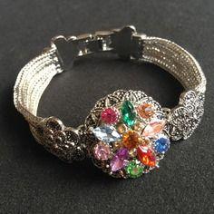 Bracelet raffine filigrane argente fleur personnalisable pour bouton pression bijou vendu sans bouton