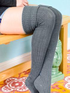 Slate GREY Lolita Thigh High Stockings - Extra Long Socks better than leg warmers - Available in Plus or Custom Sizes - Grey Knee Socks Thigh High Boots Heels, Thigh High Socks, Thigh Highs, Heel Boots, High Heels, Over Knee Socks, Long Tall Sally, Striped Socks, Latest Fashion For Women