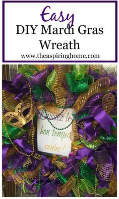 Make an easy fun DIY Mardi Gras wreath with just a few supplies and a few hours time! You will be saying Laissez les bon temps rouler in no time! Mardi Gras Centerpieces, Mardi Gras Decorations, Mardi Gras Wreath, Mardi Gras Party, Mesh Wreath Tutorial, Diy Wreath, Wreath Making, Wreath Ideas, Rehearsal Dinner Themes