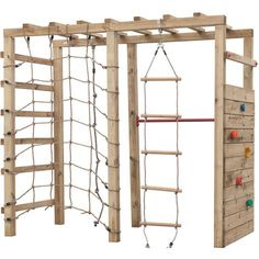 Portique d'escalade Swing King 'Bokito' bois 240 x 120 cm Backyard Jungle Gym, Backyard For Kids, Kids Outdoor Playground, Backyard Obstacle Course, Escalade, Play Houses, Backyard Landscaping, Play Gym, Ninja Warrior