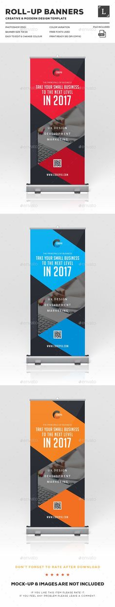 Corporate Roll-Up Banner Design Template - Signage Print Template PSD. Download here: ...