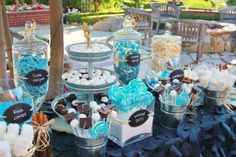 Blue and Black Graduation Dessert and Candy Bar