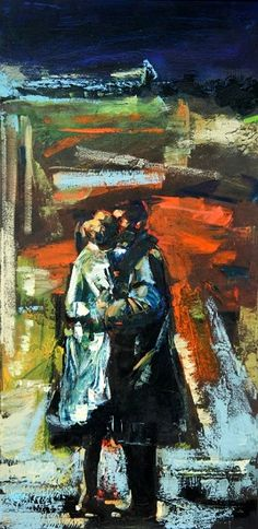 "Orange Art Gallery - Lorena Ziraldo - Embrace ; Purchase Online; Oil on Canvas, 40"" x 20"". Art . Painting"