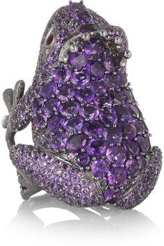 Lydia Courteille | 18-karat blackened white gold, amethyst, diamond and sapphire frog ring