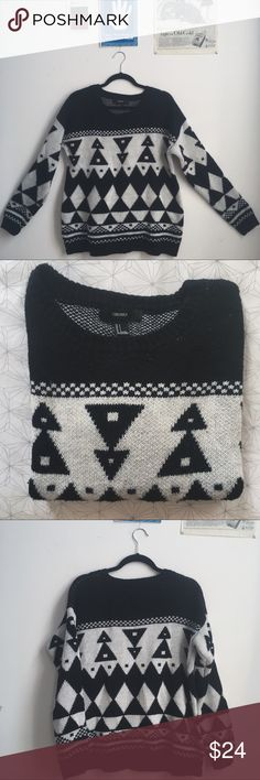 ◾️Thick Black & White Geo Sweater◽️ This is, quite possibly, the most comfortable sweater I've owned. This baby is so soft and cozy, hecka warm but don't worry! You don't have to sacrifice your bomb sense of style! The fit of this is lovely and flattering, sleeves cuff excellently and the pattern is almost tribal, fantastic geometric. Black and white is a classic. The quality is crazy good. 100% acrylic. Forever 21 Sweaters Crew & Scoop Necks