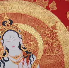 Beautiful White Tara with sumptuous gold and red detail
