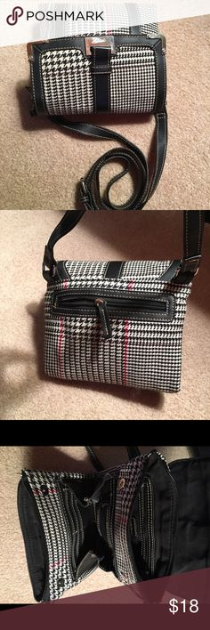 Chaps Classic Plaid Black & Red Crossbody Handbag Great Condition. Measures about 8 inches across. Lots of organizational space. Adjustable Strap. Monogrammed Plate Chaps Bags Crossbody Bags