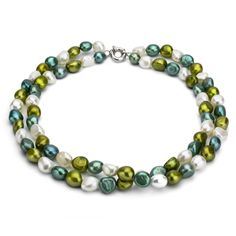 DaVonna Silver Double-row Multi Green FW Pearl Necklace (8-9 mm) | Overstock.com Shopping - Top Rated DaVonna Pearl Necklaces