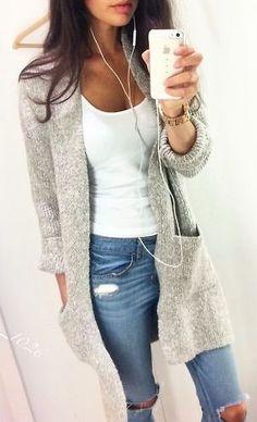 #street #style / oversized cardigan + denim:                                                                                                                                                      More