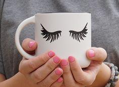 Eyelash Ceramic Coffee Mug - Eyelash Mug - Coffee Mug - Coffee Gift by CutDesignsTX on Etsy Coffee Gifts, Coffee Mugs, Eyelash Extensions Aftercare, Perfect Eyelashes, Eyelash Extension Supplies, Ceramics, Tableware, Drinkware, Etsy