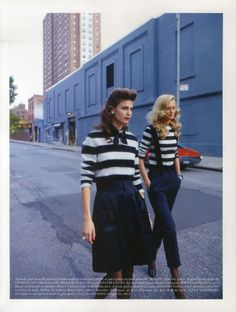 striped shirts, retro hair