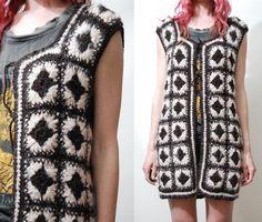 70s Vintage ALPACA Wool Vest Jacket Sleeveless por cruxandcrow