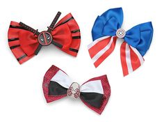 Marvel Comics Deadpool, Captain America and Spider-Gwen Hair Bows Source by geekalerts Ribbon Crafts, Ribbon Bows, Ribbons, Disney Bows, Sexy Geek, Grow Long Hair, Spider Gwen, Fandom Outfits, Geek Fashion