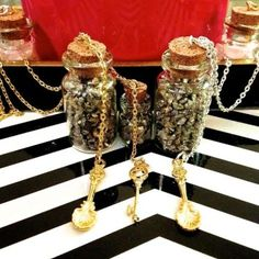 """Cork Vial Necklace by Best Kept Secret Jewelry. Pyrite, when worn, creates a defensive shield against negative energies, environmental pollutants, emotional attack and physical harm.   Small 1'' Vial w/ Pyrite Sand Nuggets & Gold Seashell Charm, 30"""" Gold or Silver Chain"""