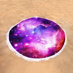 "Purple Space Round Beach Towel by Johari Smith.  The beach towel is 60"" in diameter and made from 100% polyester fabric."