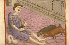 leper - leper sits in the street, holding a clapper, Vita Christi (BNF Fr. 178, fol. 67), fourth quarter of the 15th century