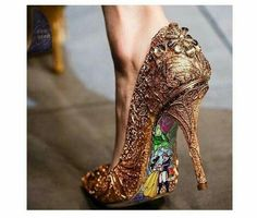 Custom hand painted Beauty and the Beast Stained Glass heels. I can t  believe these shoes are this cheap  982766b3dfa