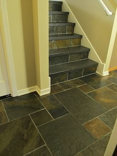 Slate Tile Entryway And Stairs