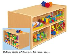 Heavy-Duty Toddler Double-Sided Storage Unit at Lakeshore Learning ~O the work I could put on this!