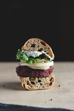 Lentil, Beet and Walnut Burgers with Quick Pickled Fennel + Sunflower Seed Aioli
