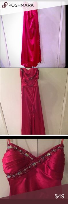 Beautiful deep pink floor length dress Brand new with tags! Gorgeous. Back has beautiful detailing. Beading on the bodice. Makes a great formal dress for any occasion. Get a deal here💕Reasonable offers welcome. City Studio Dresses Prom