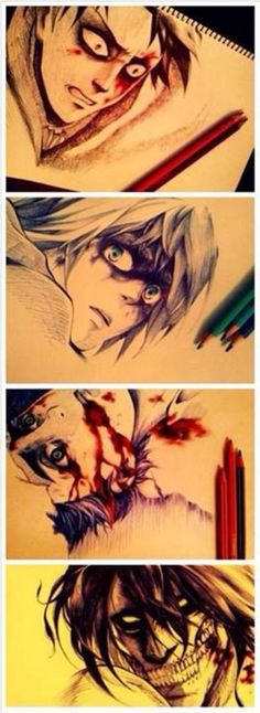Dang, these are really well done | intense, bloody | Levi, Armin, Eren, Titan Eren | SnK