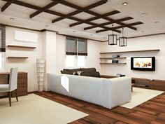 40 examples of successful ceiling cladding Design Ceiling, Ceiling Cladding, House Design, Interior Design, Modern Ceiling, Interior, Ceiling Design Bedroom, Home Decor, Living Room Designs