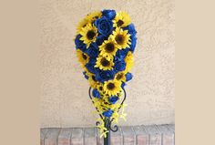Sunflower Blue Cascading Bridal Bouquet Made to Order Yellow and Blue Roses by SouthcastleCreations on Etsy