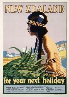 Sello: New Zealand for your Next Holiday (Maori woman) (Nueva Zelanda) (Classic Travel Posters) Mi:NZ 3484 New Zealand Art, New Zealand Travel, Vintage Travel Posters, Vintage Ads, Posters Australia, Tourism Department, Tourism Poster, Nz Art, Next Holiday