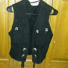 Vintage Black Genuine Leather Vest Small Size S3QRHILWw