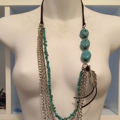 NECKLACE NECKLACE  Long Boho Chic Suede Cord. Chains and Turquoise Beads with a Silver Finish Feather Charm from Macy's. Macy's Jewelry Necklaces