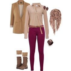 Bright Fall by karmagini on Polyvore ... have my magenta pants & boots, just need a tan blazer, cream shirt and accessories