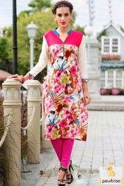 Summer Season Pink Cream Color Printed Kurti Online #kurti, #casualkurti more: http://www.pavitraa.in/wholesale-catalog/cotton-long-kurtis-online-shopping-india/